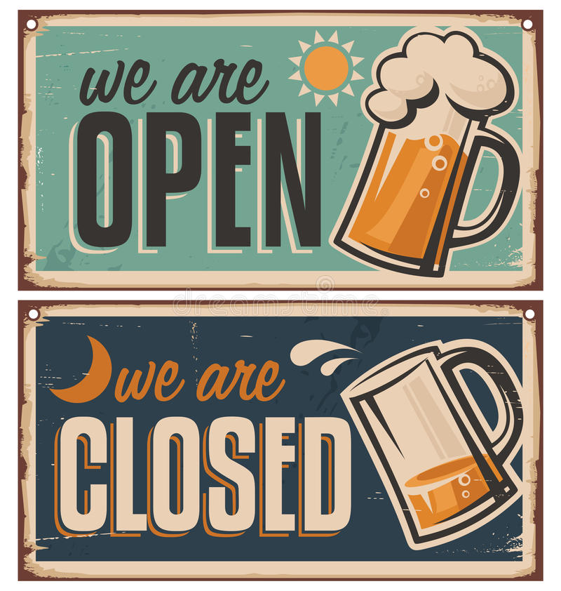 Retro tin door signs set for pub or tavern royalty free illustration