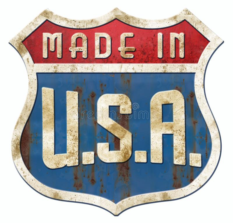 Retro Tin Made In U.S.A. highway sign vector illustration