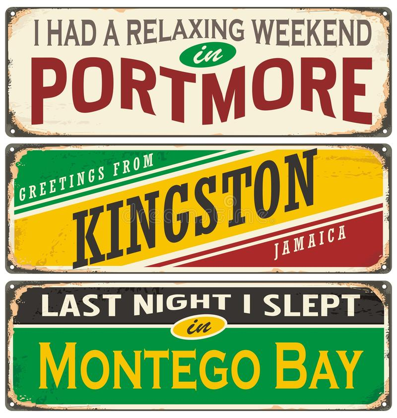 Retro tin sign collection with Jamaica cities. Retro tin sign collection with cities in Jamaica. Vintage souvenir or postcard templates. Travel theme royalty free illustration