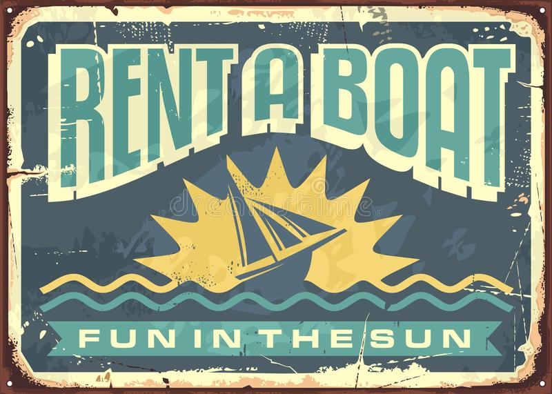 Retro tin sign design for boat rentals stock illustration