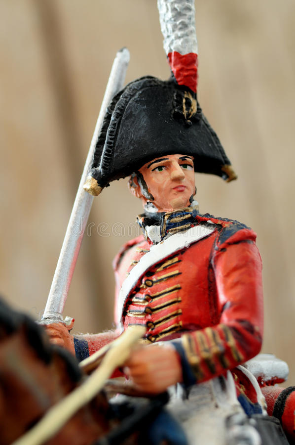 Retro tin soldier officer. Nineteen century tin soldier mounted officer figure royalty free stock image