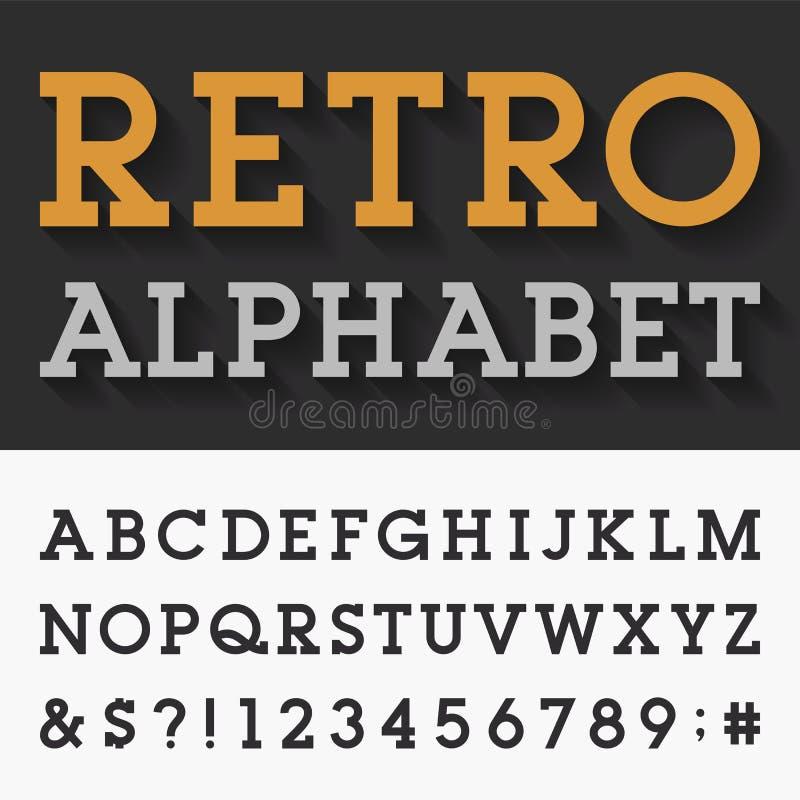 Retro tjock skiva Serif Alphabet Vector Font royaltyfri illustrationer