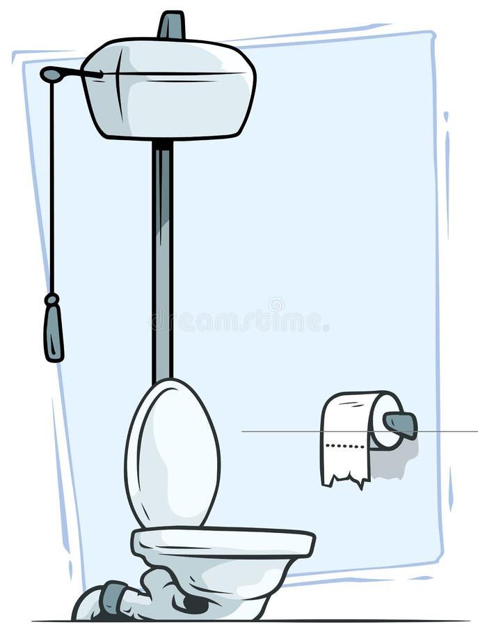 Retro toilette del fumetto con l'icona di vettore della carta igienica illustrazione di stock