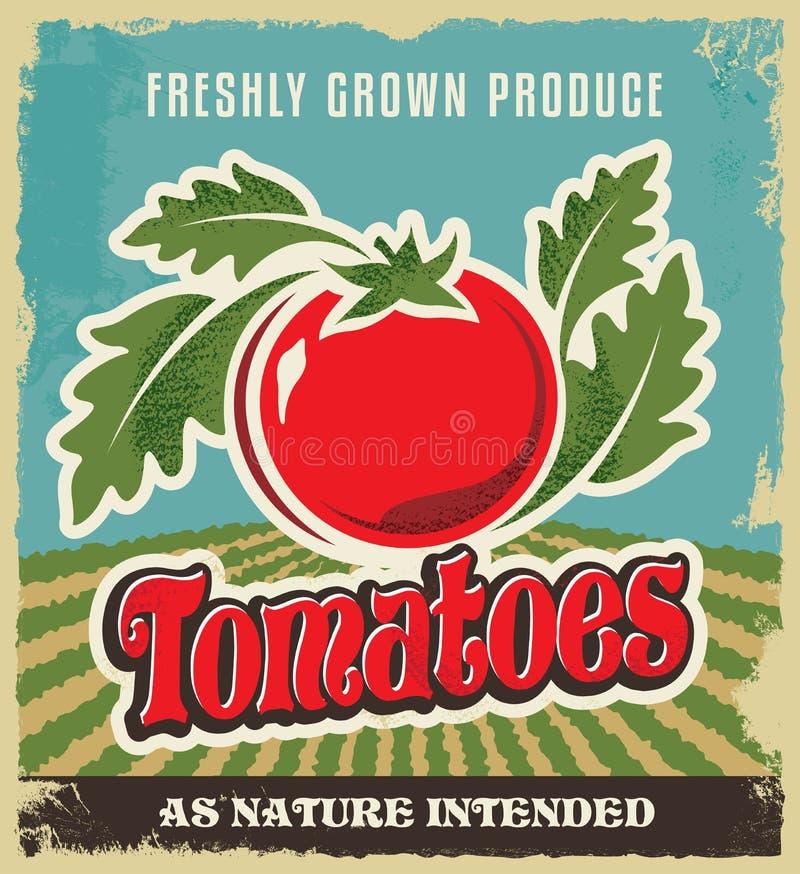 Retro tomaat uitstekende etiket van de reclameaffiche - Metaalteken en etiketontwerp royalty-vrije illustratie