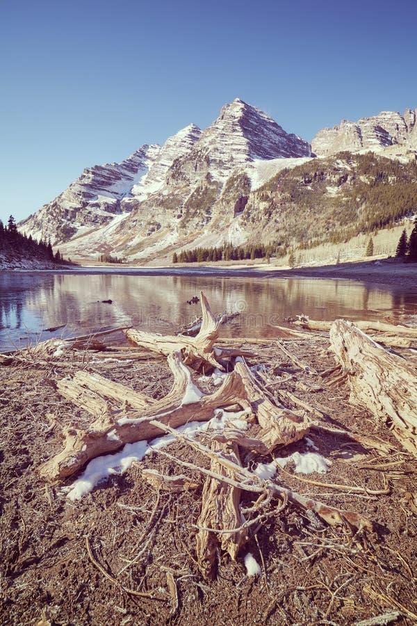 Retro tonat löst landskap, rödbruna Klockor i Colorado, USA royaltyfri bild