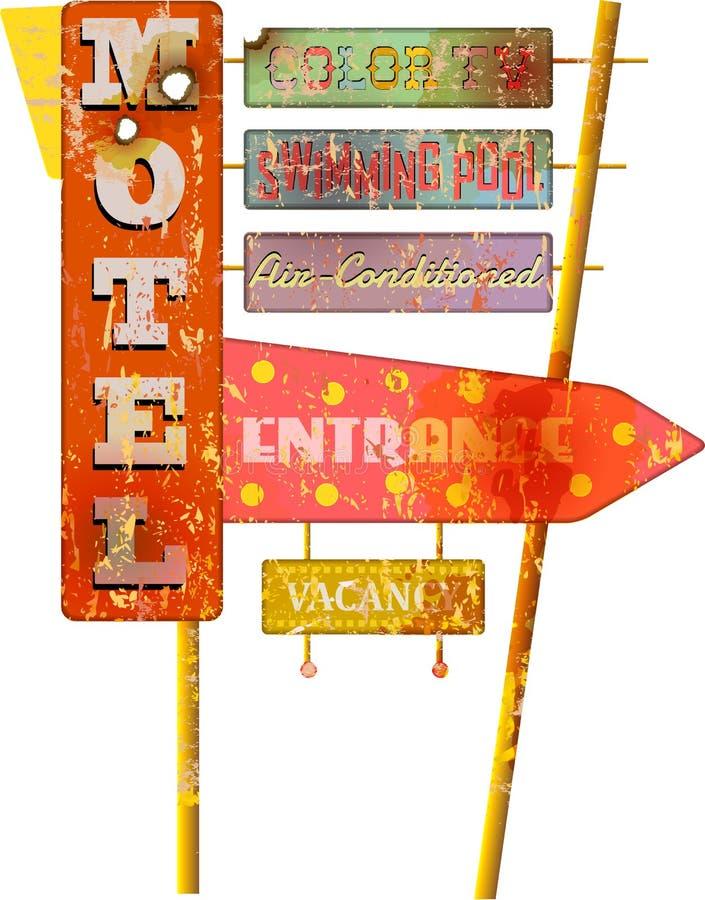 Retro toppet tecken för motell för grungerutt 66, vektor royaltyfri illustrationer