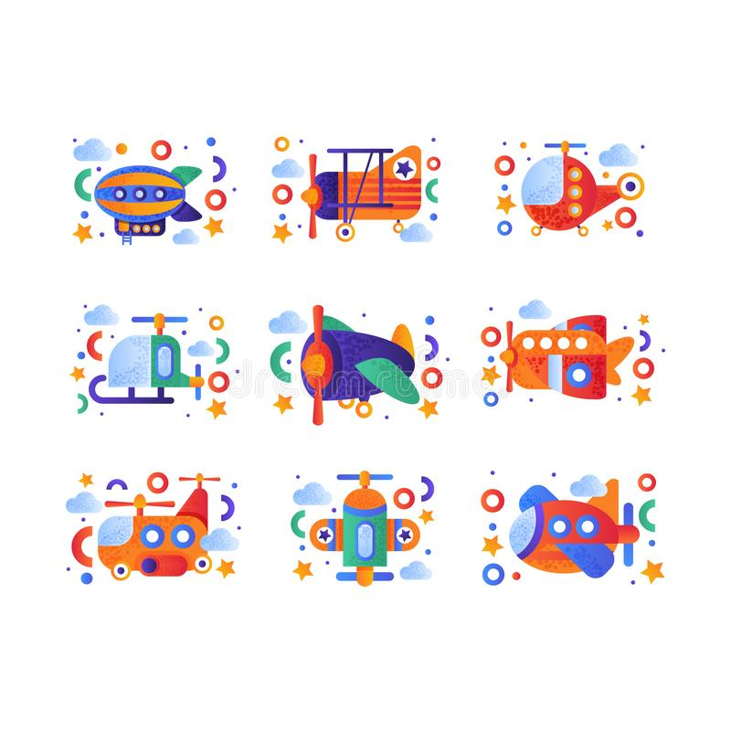 Retro toy air transport set, airship, airplane, biplane, helicopter vehicles vector Illustration on a white background stock illustration