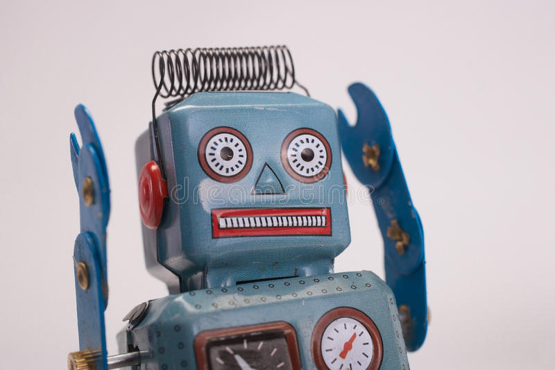 Retro toy robot stock photo