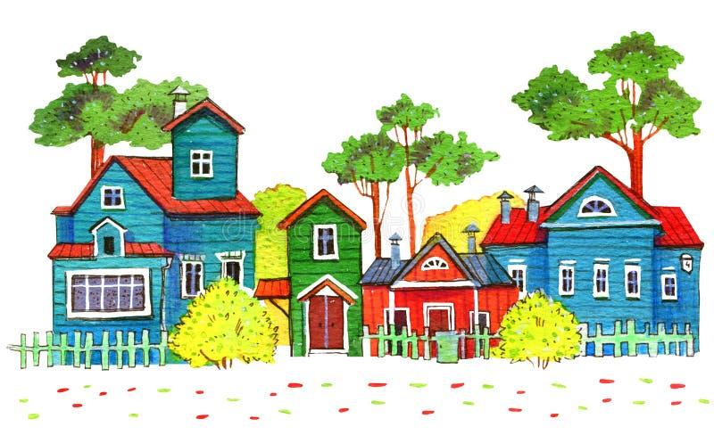 Retro trähus i en by Hand dragen tecknad filmvattenfärgillustration stock illustrationer