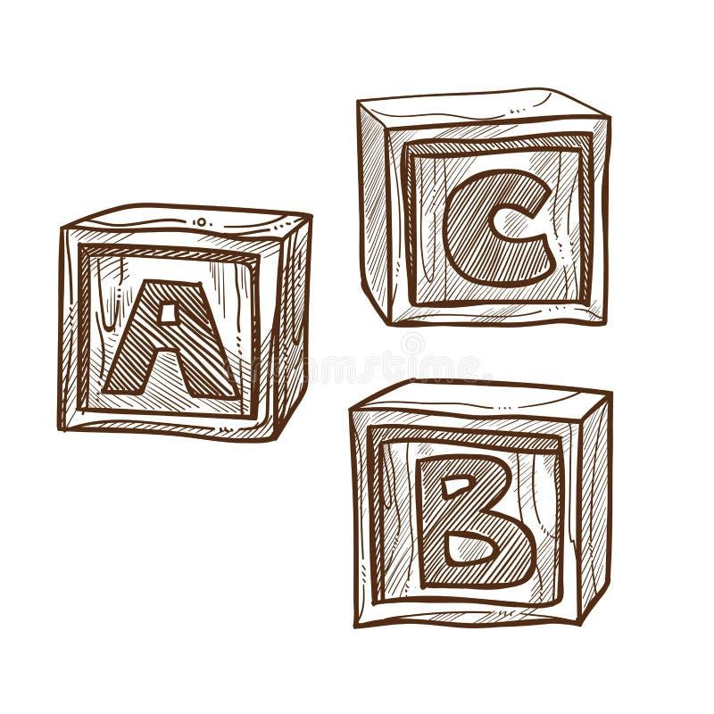 Retro träkuber med abc på sidomonokromillustration royaltyfri illustrationer