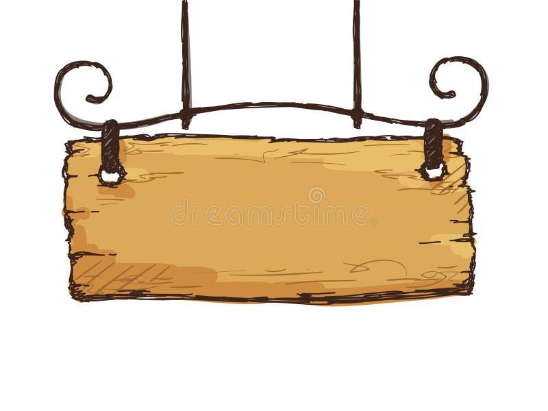 Retro träteckenbräde royaltyfri illustrationer