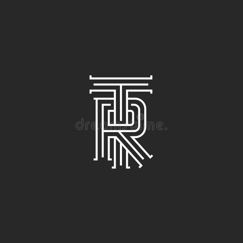 Retro TR logo monogram, overlapping thin line capital letters T R combination, wedding initials RT emblem vector illustration