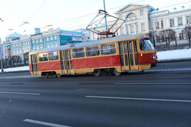 Retro tram in city royalty free stock photo