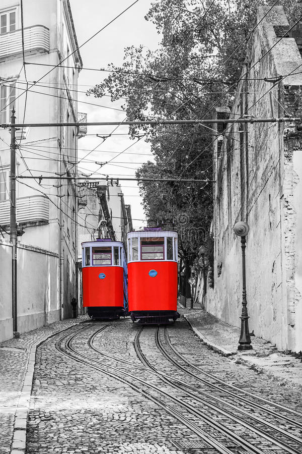 Retro tram elevator in the streets of Lisbon, Portugal stock photo