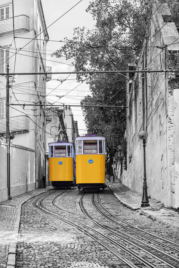 Retro tram elevator in the streets of Lisbon, Portugal stock photos