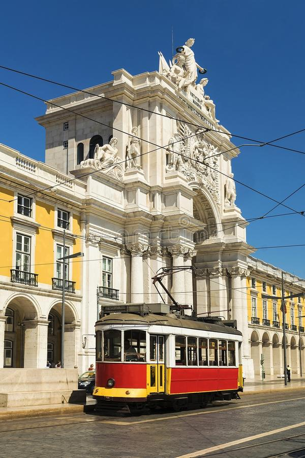 Retro tram on the streets of Lisbon royalty free stock photo