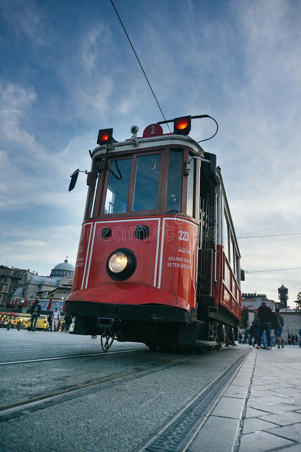Retro tram on Taksim Istiklal Street in Istanbul, Turkey in a summer sunset royalty free stock photography