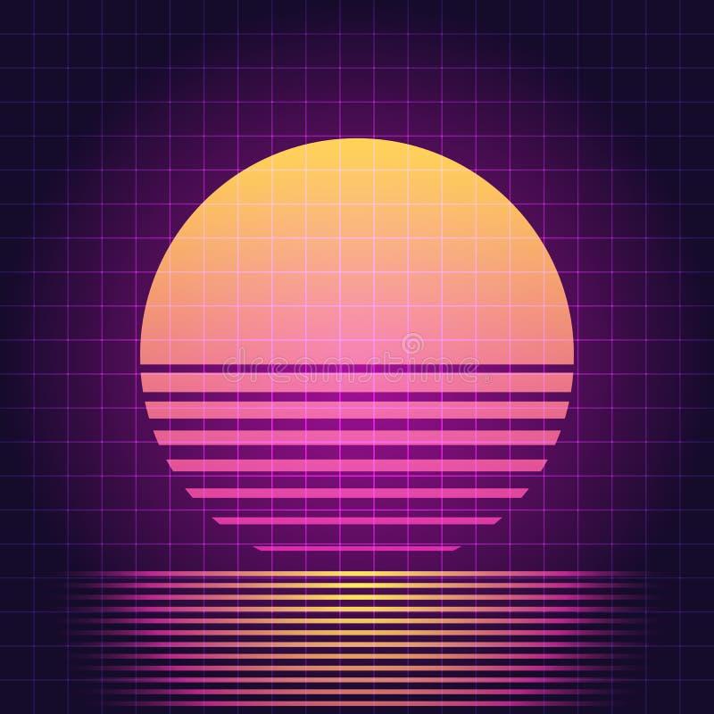 Retro tramonto di fantascienza illustrazione di stock