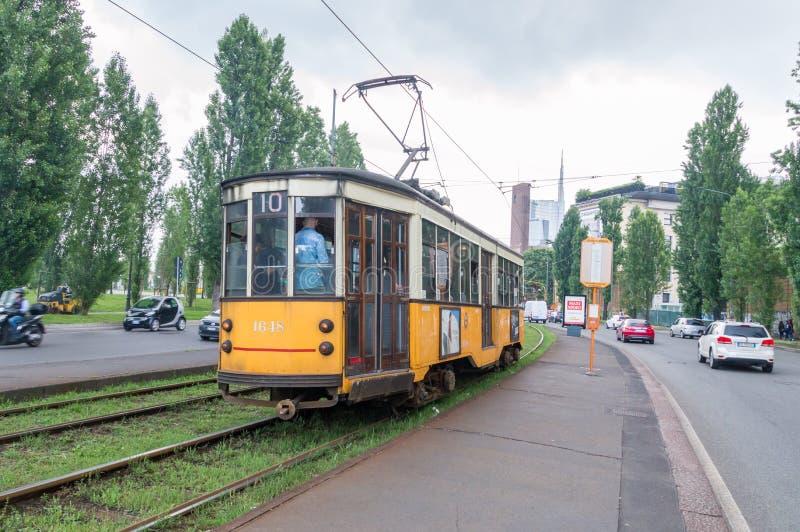 Retro tramwaj w Mediolan zdjęcia royalty free