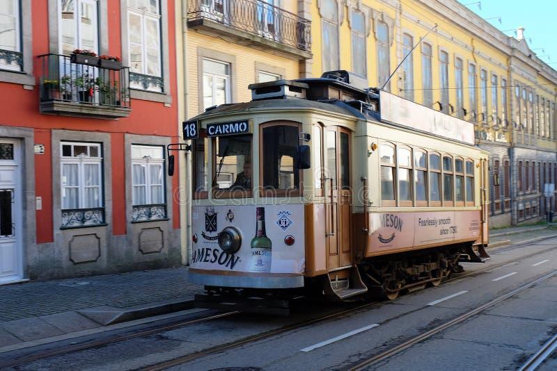 Retro tramwaj w Porto obraz royalty free