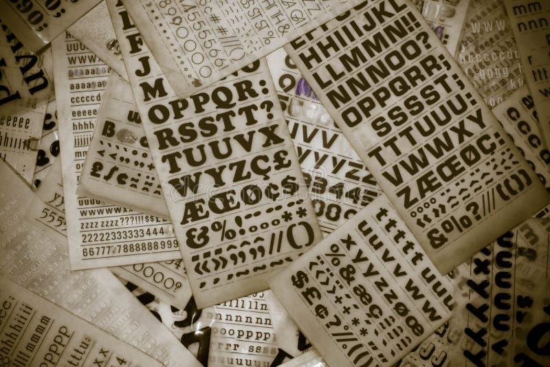 Retro transfer lettering, rub down letters.  stock photos