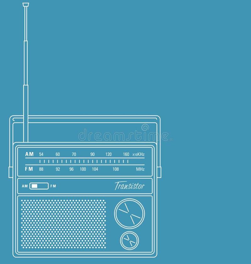 Retro transistorradio royalty-vrije illustratie