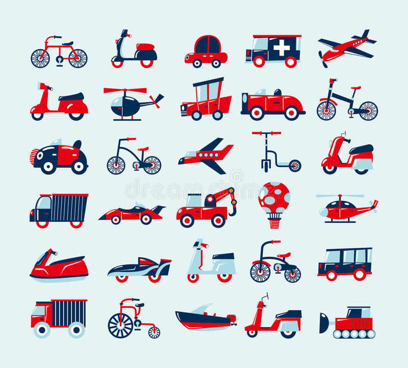 Download Retro transport icons set stock vector. Illustration of bicycle - 29530880