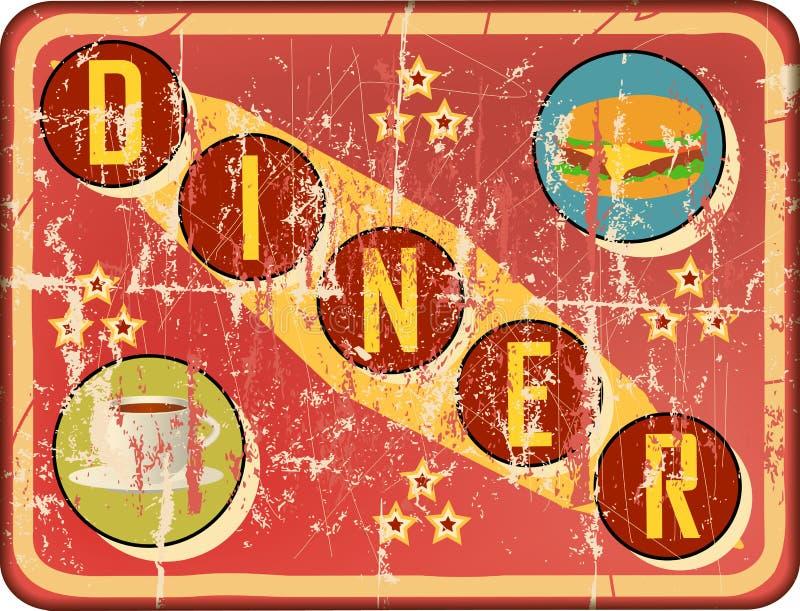Retro 66 trasy gościa restauracji emaliowy znak, ilustracji