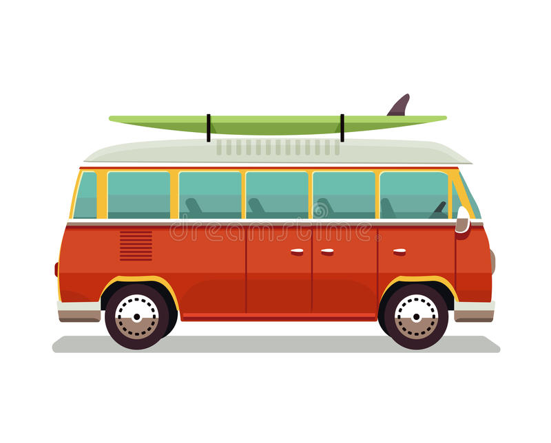 Retro travel red van icon. Surfer van. Vintage travel car. Old classic camper minivan. Retro hippie bus. Vector vector illustration