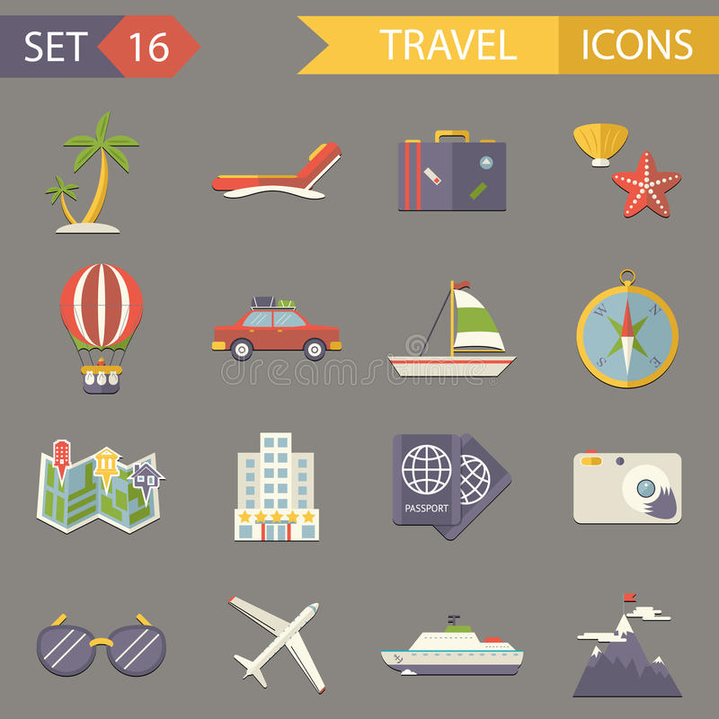 Retro Travel Rest Symbols Tourist Accessories. Icons Set Trendy Modern Flat Design Template Vector Illustration vector illustration