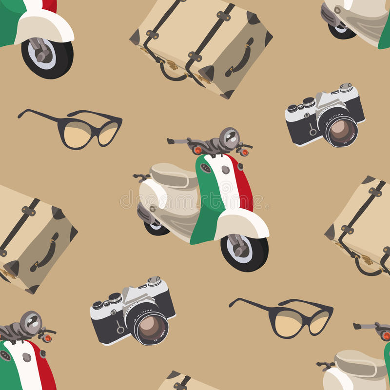 Retro travel. Seamless pattern with camera, sunglasses, suitcase, scooter. Italy royalty free stock image