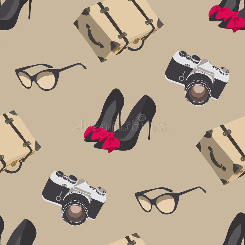 Retro travel. Seamless pattern with camera, sunglasses, suitcase, shoes stock photography