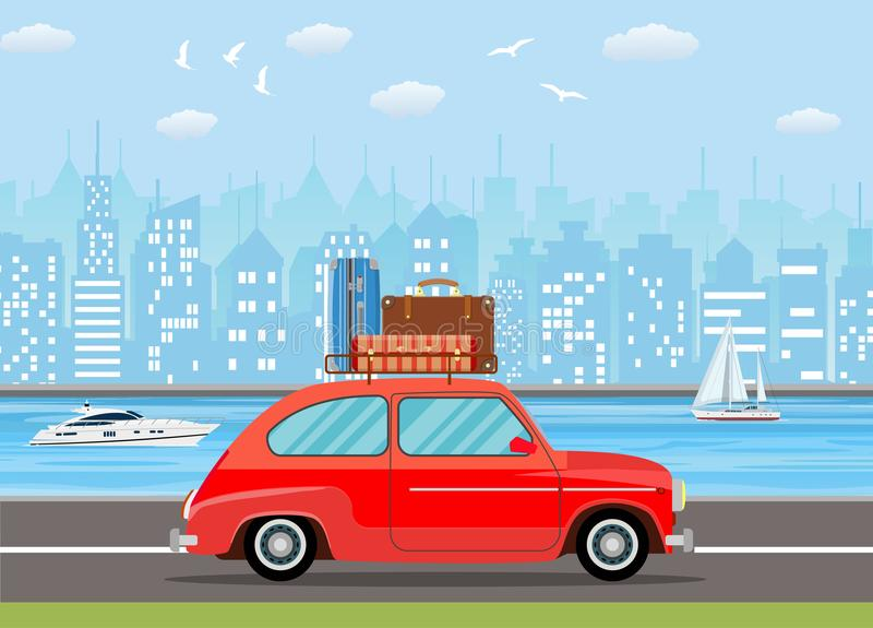 Retro travel van car with bag on roof. vector illustration