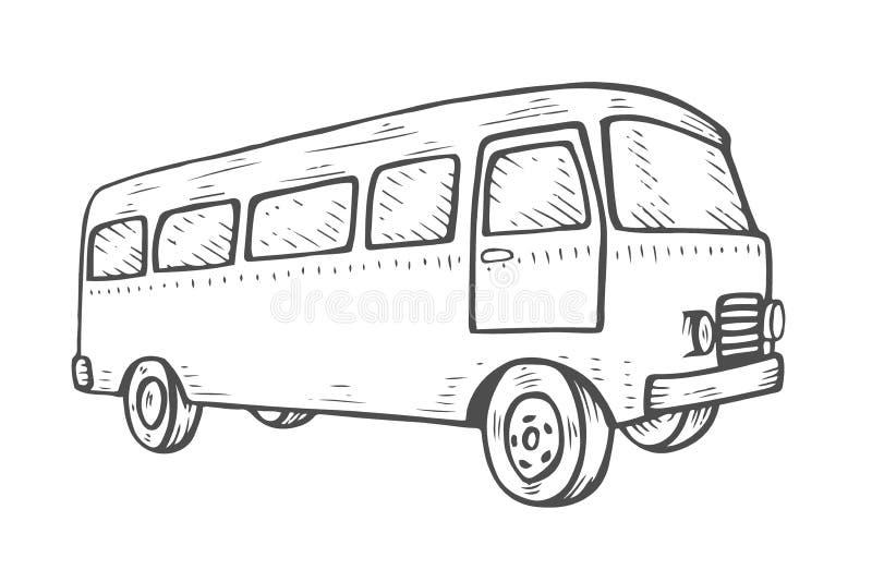 Retro travel van. Engraving Retro travel van icon. Vintage travel car. Old classic camper minivan. Retro hippie bus. Vector illustration in flat design isolated stock illustration
