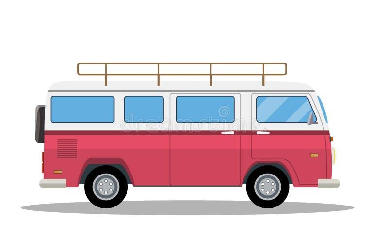 Retro travel van icon. Surfer van. Vintage travel car. Old classic camper minivan. Retro hippie bus.Vector illustration in flat style isolated on white vector illustration