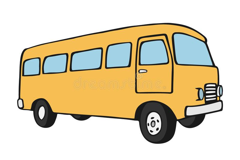 Retro travel van. Retro travel yellow van icon. Vintage travel car. Old classic camper minivan. Retro hippie bus. Vector illustration in flat design isolated on royalty free illustration