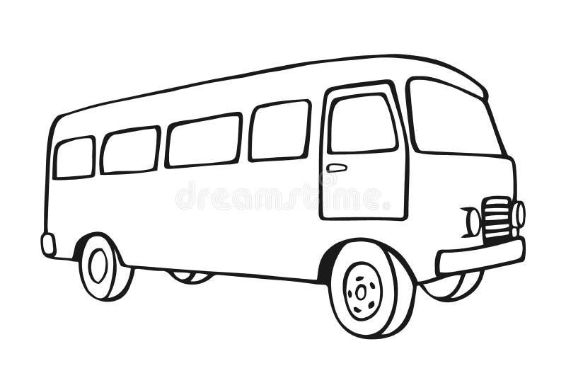Retro travel van. Sketch Retro travel van icon. Vintage travel car. Old classic camper minivan. Retro hippie bus. Vector illustration in flat design isolated on stock illustration
