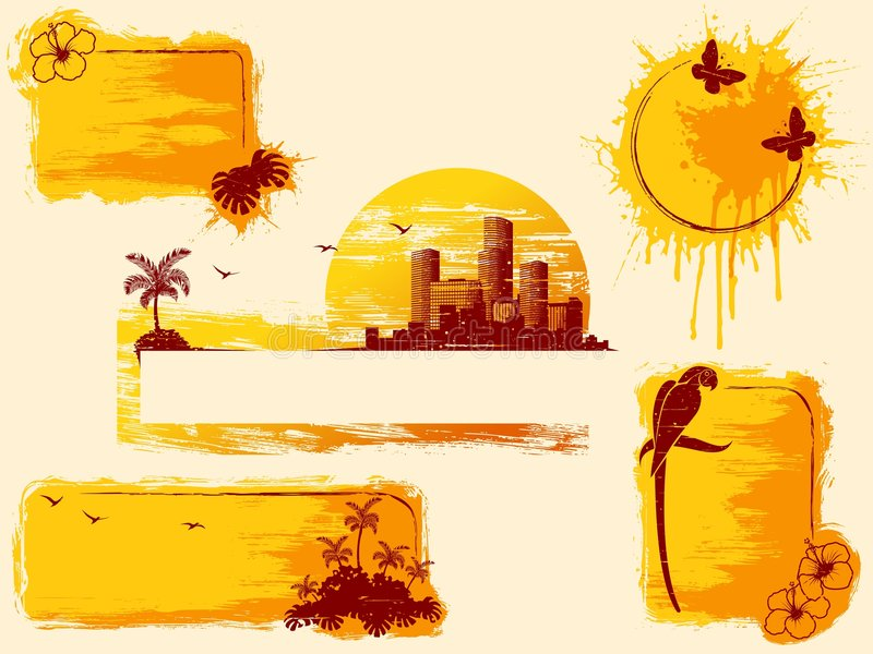 Download Retro Tropical Grunge Banners In Warm Tones Stock Photo - Image: 9122230