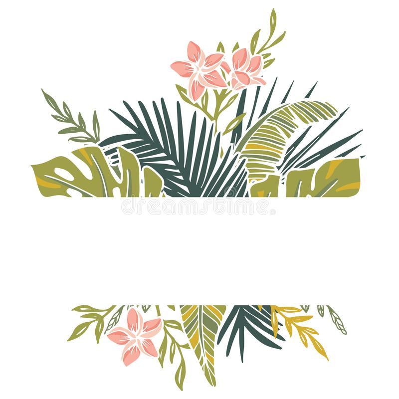 Retro Tropical Isolated Foliage and Frangipani Flowers Vector Frame. Graphic Element. vector illustration