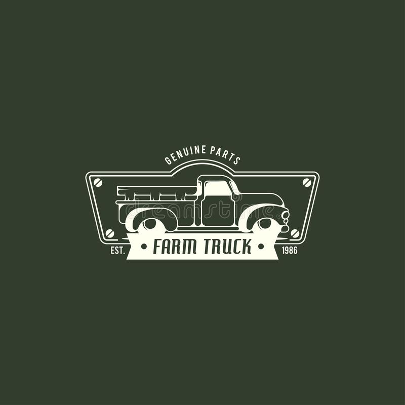Muscle car logo template in retro style. Retro car logo vector royalty free illustration