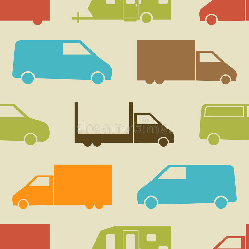 Retro truck seamless pattern. Vector illustration for cargo transport design. Bright vehicle pattern.Car wallpaper background. Cartoon silhouette shape vector illustration