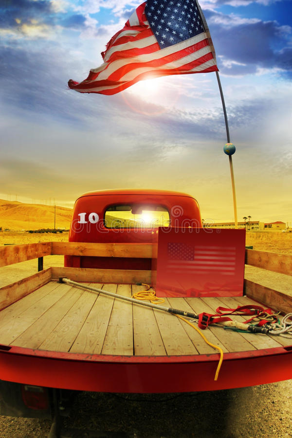 Retro truck and vintage flag royalty free stock images