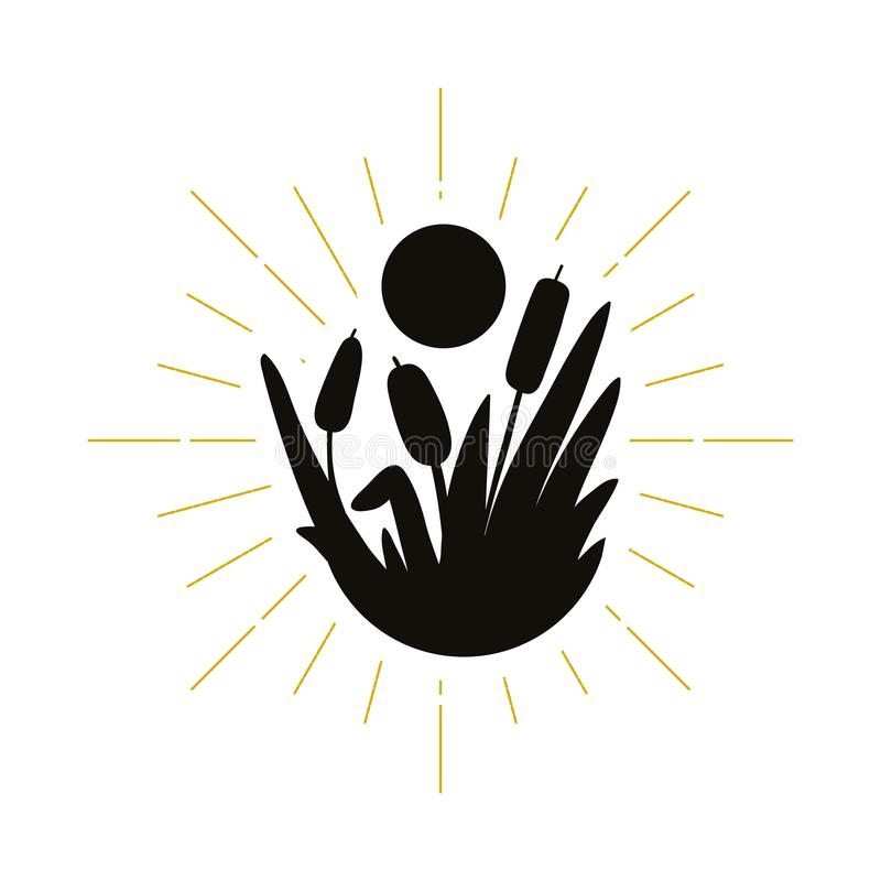 Retro trzcinowy sylwetka logo royalty ilustracja