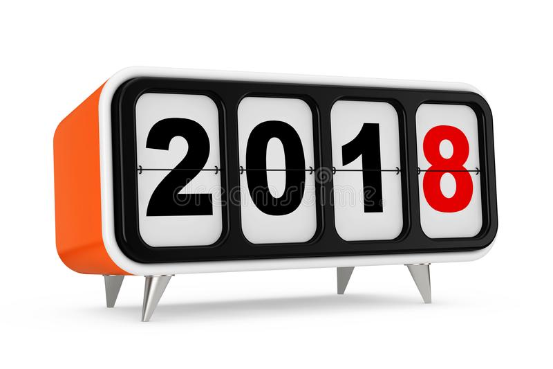 Retro trzepnięcie zegar z 2018 nowy rok znakiem świadczenia 3 d royalty ilustracja