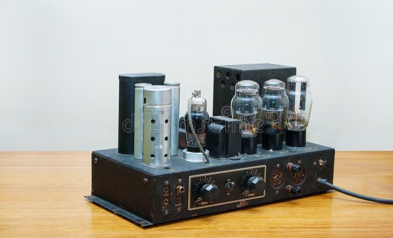 Retro tube amplifier 1920 year stock image