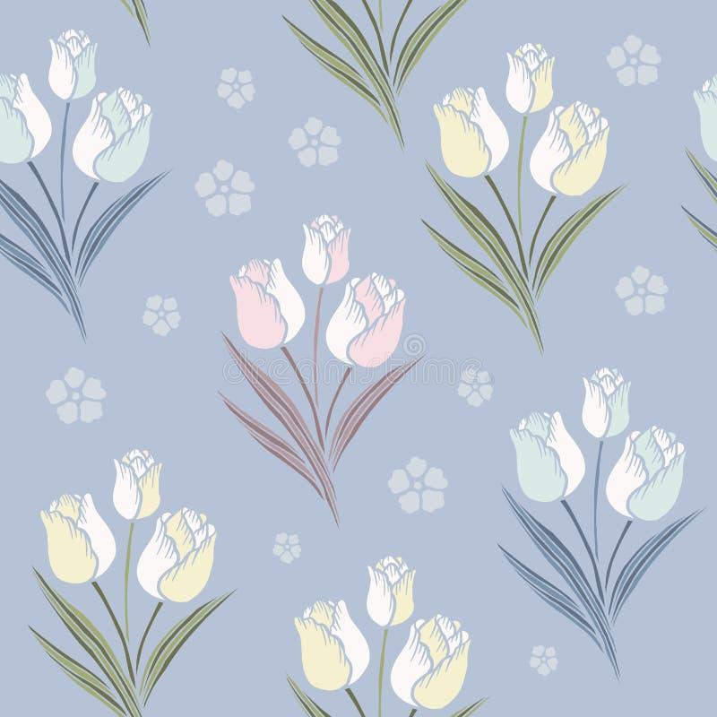Retro tulips seamless pattern background stock illustration