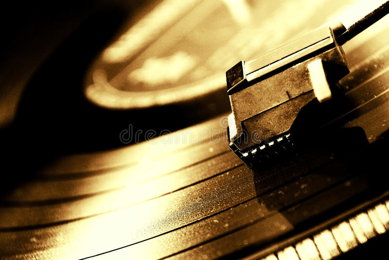 Turntable. Retro turntable and arm for music vinyl records royalty free stock images