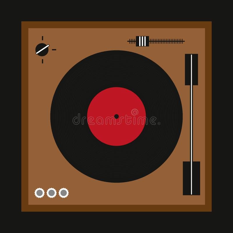 Retro turntable dla winylowych rejestrów Modnisia druk również zwrócić corel ilustracji wektora ilustracji
