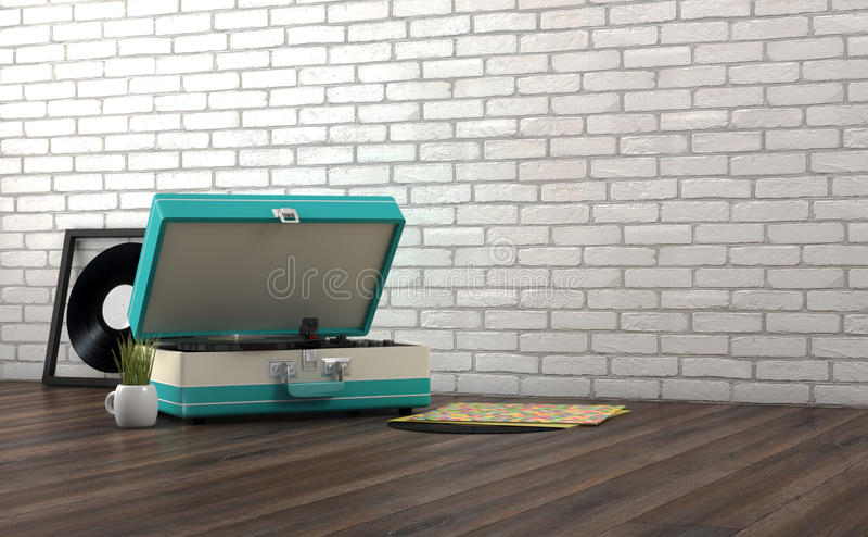 Retro turntable. On wooden floor stock photos