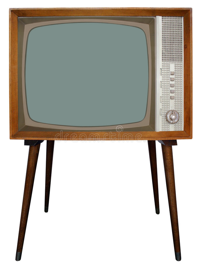 Retro TV. The Old Nostalgic BW Television cut out with clipping path